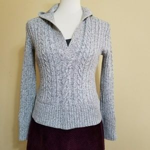 Gap Cable Knit Hooded Sweater Grey S